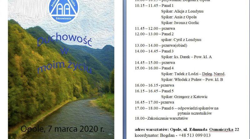 Drugie Warsztaty Duchowości odbędą się w Opolu 7 marca 2020r(sobota) w godz. 10.00 - 18.00. Rejestracja uczestników od godz. 09.00
